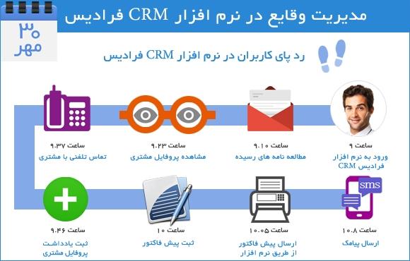 مديريت وقايع و رد پاي کاربران در نرم افزار CRM فراديس